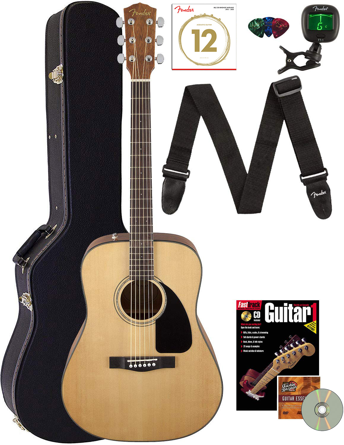 Fender CD-60 Dreadnought Acoustic Guitar - Natural w/ Hard C