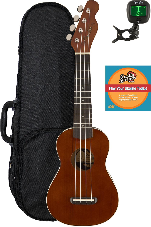 Fender Venice Soprano Ukulele Natural W Hard Case For Sale Online