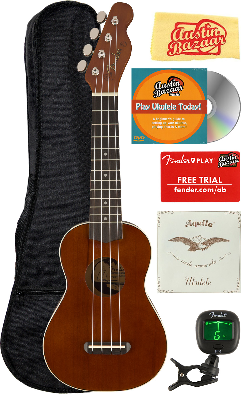 Fender Venice Soprano Ukulele Natural Bundle With Gig Bag Tuner And Austin For Sale Online Ebay