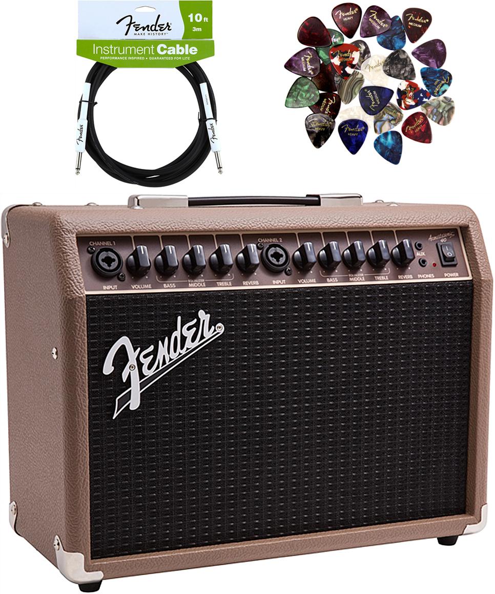 Fender-Acoustasonic-40-Acoustic-Guitar-Amplifier-Brown-w-Instrument-Cable