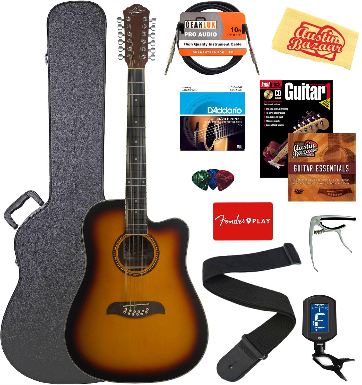 Oscar Schmidt OD312CE 12-String Dreadnought Acoustic-Electric Guitar - Tobacco S