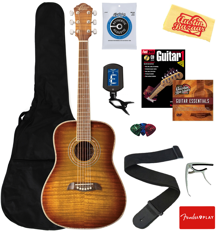 Flame Yellow Sunburst Oscar Schmidt OG1 3//4-Size Dreadnought Acoustic Guitar