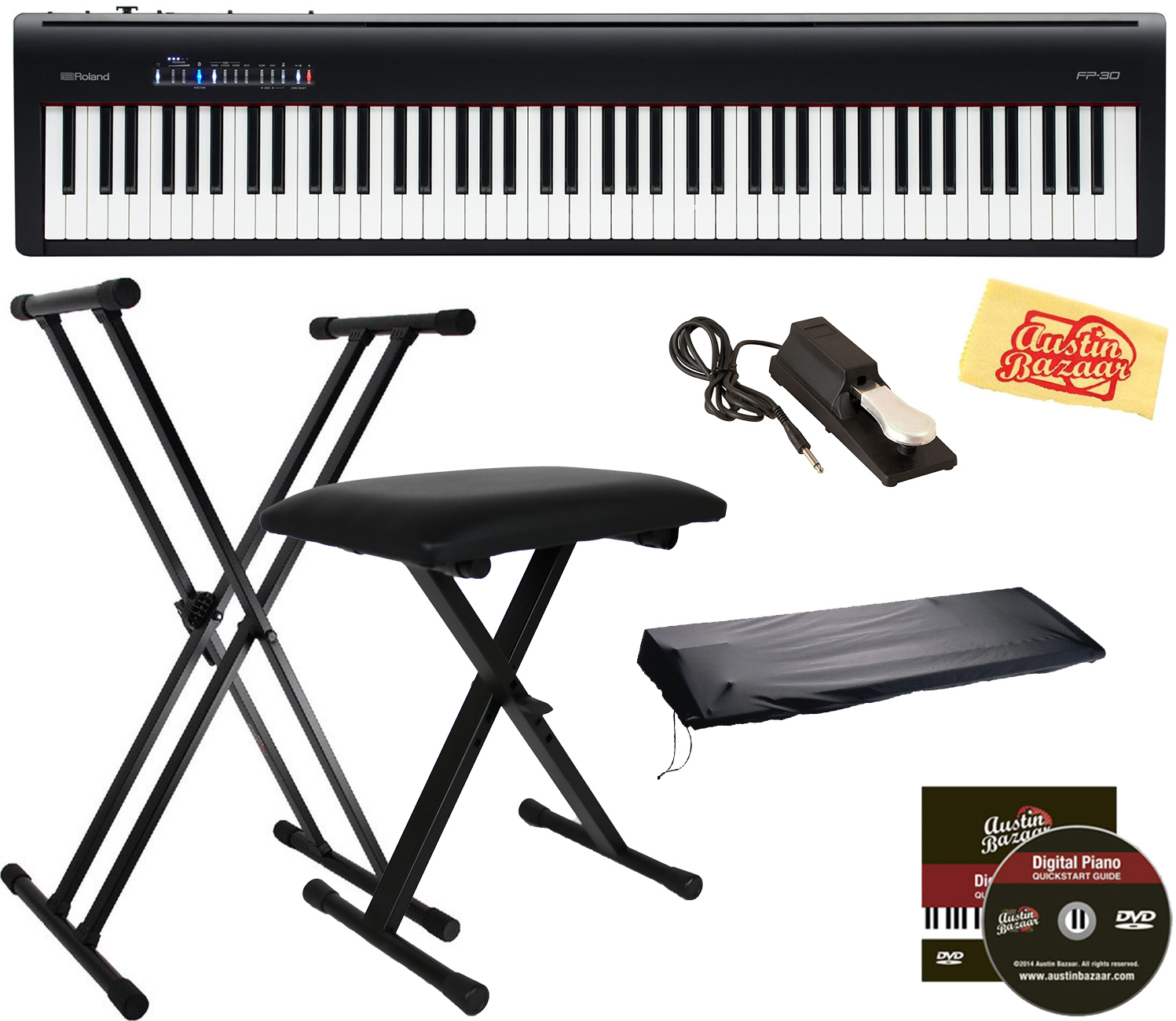 Roland FP-30 Digital Piano - Black w/ Roland DP-10 Damper Pe