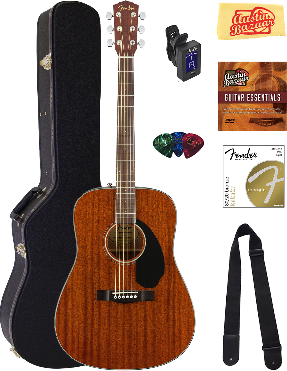 FENDER CD-60S DREADNOUGHT ACOUSTIC GUITAR - ALL MAHOGANY W/ HARD CASE